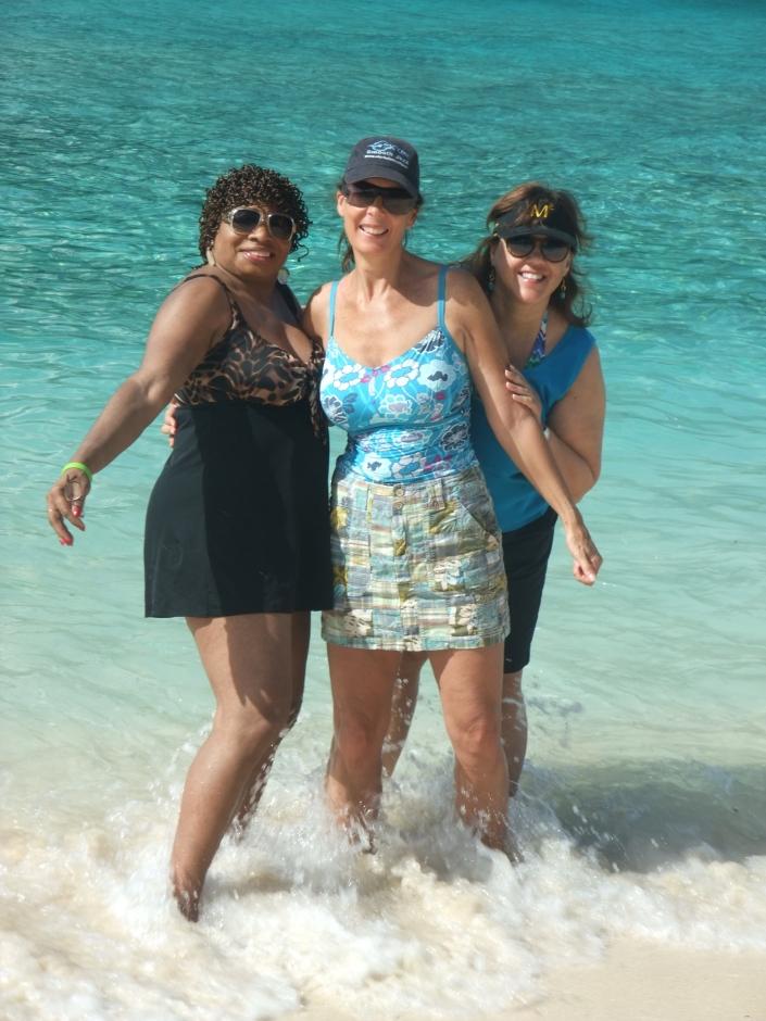 Sheryl, Chris and I hitting the surf